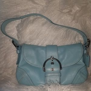 Baby blue Coach hobo bag